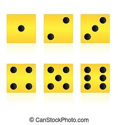 Gelbe Kubik-Vektorgrafik zum Spielen.