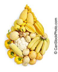 Gelbes gesundes Essen.