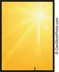 Gelbes orangefarbenes asymmetrisches Sonnenlicht ist geplatzt