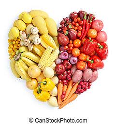 Gelbes und rotes gesundes Essen.