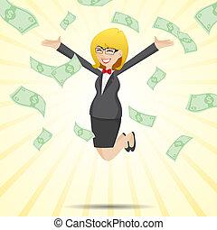 geld, bargeld, springende , geschäftsfrau, karikatur, glücklich
