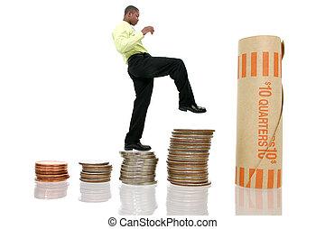 geld, klettern, mann