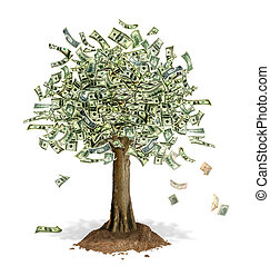 geld, notizen, dollar, leaves., baum, ort, uns, bank