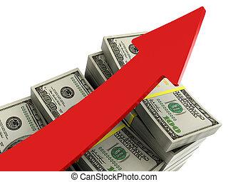 geld, steigend, tabellen