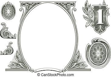 geld, vektor, verzierungen