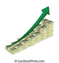 Geldscheine stapeln sich aufsteigende Graphen.