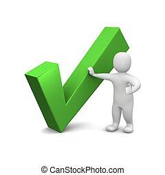 geleistet, illustration., mark., grün, 3d, kontrollieren, mann