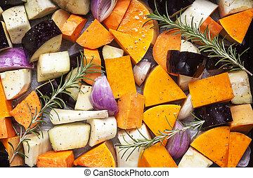 Gemüse bereit zum Rösten der oberen Aussicht