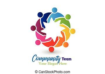gemeinschaft, logo, vektor, umarmung, gemeinschaftsarbeit