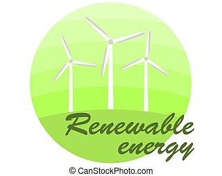 generatoren, banner, energy., hintergrund., alternative energiequelle, grün weiß, vektor, wind, abbildung