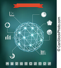 Geometrische Sphärenzusammensetzung mit leuchtenden Punkten. Infographische Elemente
