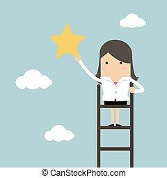 Geschäftsfrau auf einer Leiter schnappt sich den Stern am Himmel.