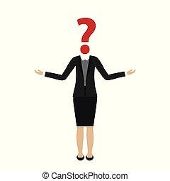 Geschäftsfrau mit Fragezeichenkopf.
