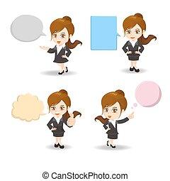 Geschäftsfrau mit Sprachblasen.