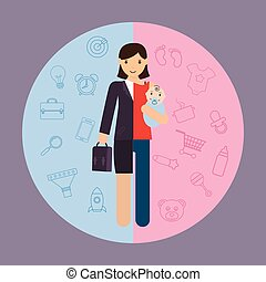 Geschäftsfrau und Mutter, Karriere und Mutterschaft geteilt.