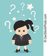 Geschäftsfrau verwirrt und mit vielen Fragezeichen gekennzeichnet.