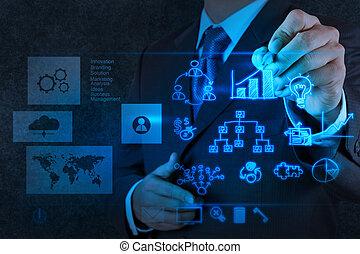Geschäftsleute arbeiten mit neuer moderner Computer- und Geschäftsstrategie als Konzept