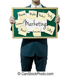 Geschäftsleute, die den Hintergrund im Griff haben, Marketing-Konzept