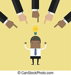 Geschäftsleute haben die beste Geschäftsidee gewählt.