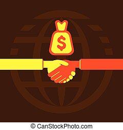 Geschäftsleute haben Handschlag oder Deal.