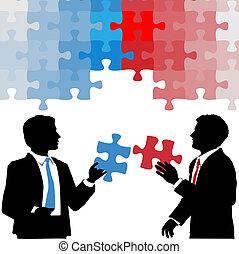 Geschäftsleute halten eine Kollaboration für Rätsellösung