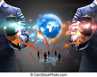 Geschäftsleute halten soziale Netzwerke