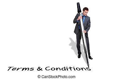 Geschäftsleute schreiben Terms und Konditionen mit einem riesigen Stift