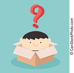 Geschäftsleute sind mit Fragezeichen in der Box.