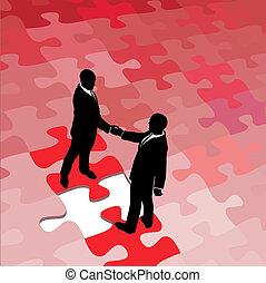 Geschäftsleute sind sich über die Problemlösung einig
