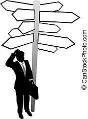 Geschäftsleute suchen Entscheidungsrichtungen, das ist eine Lösung