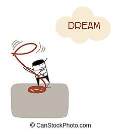 Geschäftsmänner-Vision und fangen Traum für künftigen Erfolg