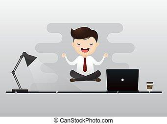 Geschäftsmann, der Meditation mit Glühbirne sitzt. Konzept des kreativen Denkens. Vector, Illustration.