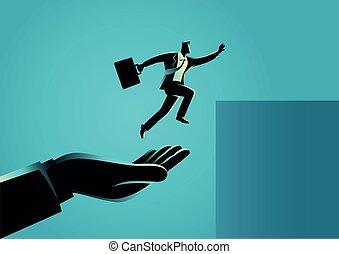 geschäftsmann, helfende hand, höher, springen