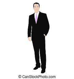 Geschäftsmann. Isolierte Vektorfarbenzeichnung eines Mannes in einem Anzug