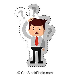 Geschäftsmann lustig mit Doubt-Serie Zeichen Icon.