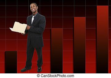 Geschäftsmann mit Daumen über den steigenden Graphen Hintergrund.