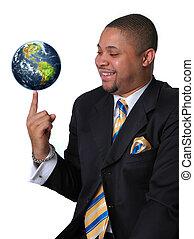 Geschäftsmann mit der Erde