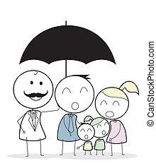Geschäftsmann mit Familienversicherung