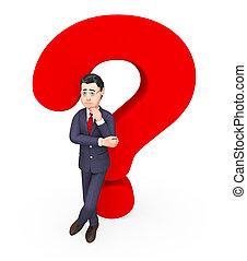 Geschäftsmann mit Frage stellt häufig gestellte Fragen und Hilfe.