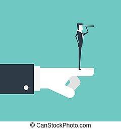 Geschäftsmann mit Teleskop suchen nach Möglichkeiten und Boss Hand zeigen die beste Richtung.