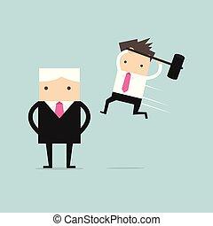 Geschäftsmann springt den Boss von hinten an.