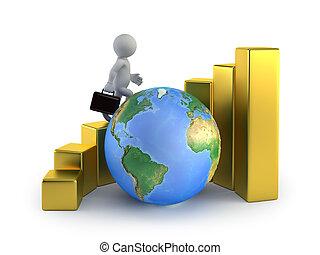 geschäftsmenschen, global, -, wachstum, klein, 3d
