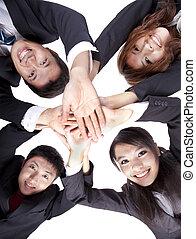 geschäftsmenschen, junger, ihr, asiatisch, hände, beitritt