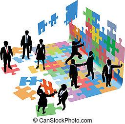 geschäftsmenschen, start, probleme, lösen, bauen