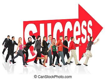 Geschäftsthemen kollabieren, Menschen laufen nach dem Pfeilzeichen zum Erfolg
