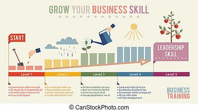 geschaeftswelt, dein, schablone, infographics, geschicklicheit, wachsen