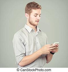 geschaeftswelt, erfolgreich, telefon, beweglich, gebrauchend, mann