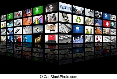 geschaeftswelt, fernsehapparat, großer schirm, internet, tafel