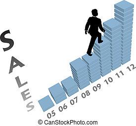 geschaeftswelt, klettert, marketing, auf, tabelle, person, verkäufe