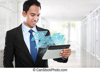 geschaeftswelt, tablette pc, asiatisch, gebrauchend, mann